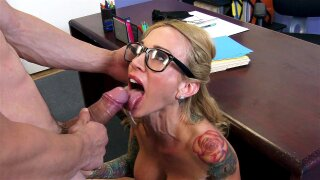 Teacher Sarah Jessie in glasses deepthroats fat throbber