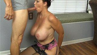 Super Big Titty Housewife Charlee Chase Kneels & Sucks Hubby's Boss' Cock!