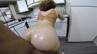 Blonde hottie gives neck in the kitchen & gets smashed bent by the counter!