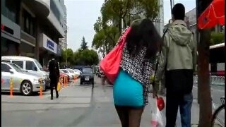 Candid Chinese black pantyhose women walking and skirt ass came out