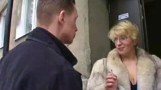 Russian boy fucking a mature lady in fur