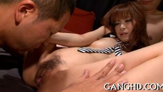 Raucous Japanese gangbang. Sweet Japanese achieves multiple orgasms from gangbang