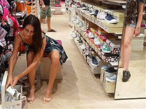 Young Girl Without Panties In A Shoe Store Porn