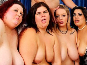 Four Horny BBWs Enjoy Lesbian Sex Then A Guy Comes He Is Welcomed With Blowjobs Then He Fucks All The Plump Pussies And Give Cum In Their Mouth Porn
