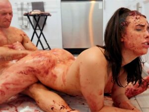 Smeared Boy And Girl Are United In Sex Act In The Kitchen Porn