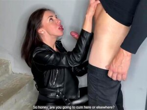 Double Blow Job From Breasty Mother I'd Like To Fuck In Leather Porn
