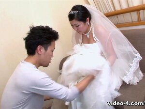 Emi Koizumi Is So Beautiful In Her Wedding Dress That This Man Can't Resist Her. She Is Kissed And Has Her Boobs Touched Over The White Dress. In The Man Arms, She Has The Pussy Rubbed In The Panties. After Having Her Hairy Slit Licked, She Sucks The Guy's Dick. Such A Great Blowjob Is Rewarded With Another Cunt Licking. This Bride Enjoys So Much This Action That She Wants To Such The Dong More. And, She Does Again, With More And More Passion. Emi Takes So Much Of The Dick In Her Mouth That This Blowjob Transforms Into A Deepthroat. Porn