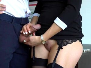 Sexy Secretary In Stockings Makes Boss Cum On Her Dress In Office Porn