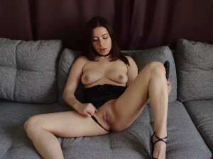 Entrancing Russian Girl Entertains Herself Using The Black Dildo Porn