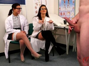 Doctor Lola Knight And Her Friend Watch A Naked Man Play With His Cock Porn