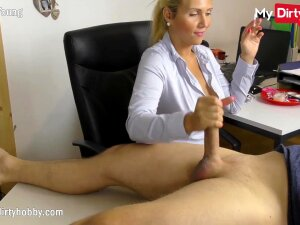 Blonde German Amateur Secretary With Big Tits Is Caught Smoking At The Office By Her Boss And Gives Him A Handjob For A Free Pass Porn