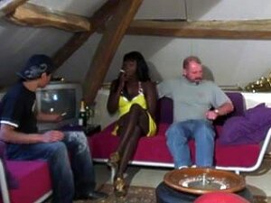 Interracial - Ebony Bitch Fucked By 2 Horny White Guys, Black Waitress Gets Anal Fucked And Pussy Drilled By Two Hot White Older Guys In This Amateur Interracial Threesome Vid. Porn
