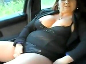 Chubby Mature Woman In Car Passenger Seat Pulls Her Black Panties To The Side Ad Driver Fingers Her Bald Cunt. She Sucks On His Wet Pussy Fingers And He Gropes Her Big Tits. Porn