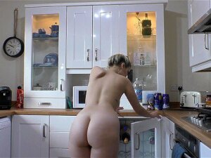 Naughty Blonde Nude In The Kitchen Porn
