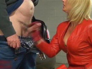 Curvy Milf Clad In Red Leather And Red Thigh High Boots Gets Cum On Ass Porn