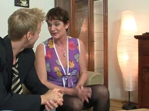 Granny In Stockings Takes It On The Couch Porn