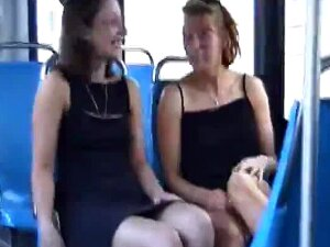 Horny Lesbians Touching In The Public Bus Porn