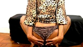 Perfect doll with balls tugs her black cock in leopard dress