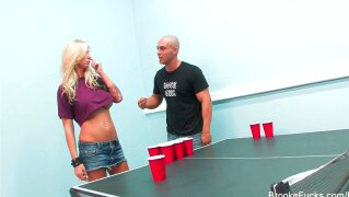Beer pong with Brooke and Kayme becomes a foursome