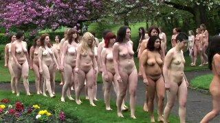 Nudist British women in group