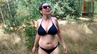 Topless and nude walk in forest