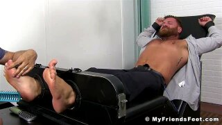 """Bearded businessman tickled hard while bound and helpless"""