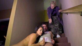 Eva Lovia sucking the hard cock on the stairs