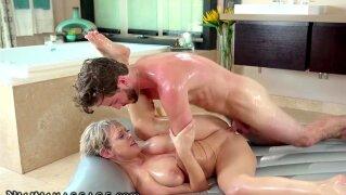 NuruMassage Tailed Friend's Mom 2 Work & She Massaged My Dick