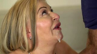 Chubby grandma makes his young dick cum in her mouth