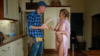 """""""Big-dicked plumber fucks horny housewife in the kitchen"""""""