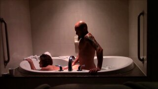 Hot couple sex session in hotel room with bath tub and on the bed