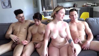 CRAZY TEEN 4some. Ass splitting huge cock and rimming!