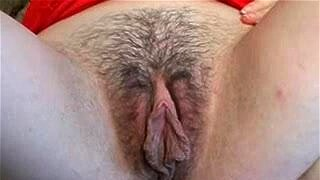 Honey with her big pussy lips and hairy cunt