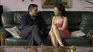 Hot Seduction Of Petite Brunette On A Black Couch