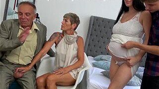8 Months Pregnant Maid watching Family Quickie