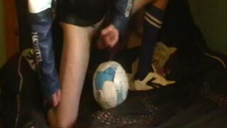 big oil cock edging in leather sports, soccer socks & sneakers