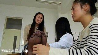 Chinese Foot Tickle White Socks Bare Feet & Nylon