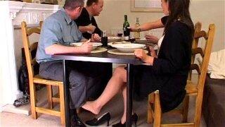hot footjob under table tease