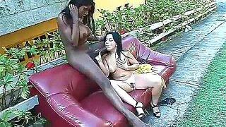 Latina girl sits on huge black shemale cock
