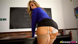 Blonde teacher in miniskirt complains about men looking under her skirt ...