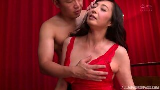 Otowa Ayako wears sexy red dress for fucking her handsome friend