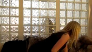 Hot blonde in fur coat