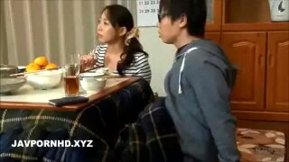 Japanese stepmom fucks son under table