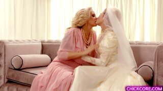 Lesbian MILF suprises her bride dauther with a hot pussy licking session before her wedding day. She touches and kisses her pearl clit then finger fuck her wet pussy until she reaches her orgasm