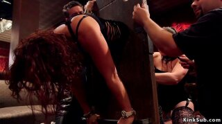 Two hot lesbian slaves AJ Applegate and Cali Carter under domination of big tits mistress Aiden Starr made to suck and fuck big dicks at bdsm party in the upper floor