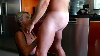 MILF With Huge Tits Sucks Strangers Cock