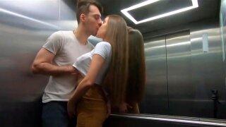 Risky sex in the public elevator. Rough sex, blowjob and facial.